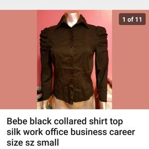 Bebe black collared shirt size small puffed sleeve